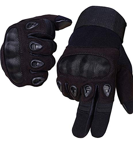Swat Tactical Gloves Kevlar Hard Knuckles Military Touchscreen Patrol Duty Search Duty Gloves (Large, Black)