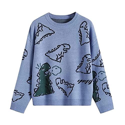 Pabuyafa Suéter lindo de manga larga para mujer con estampado de dinosaurios de dibujos animados y cuello redondo jersey de punto Y2K suelto casual kawaii jumpers, azul, L