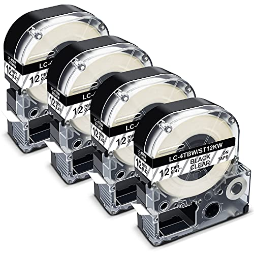 Pristar Compatible Label Tape Replacement for LC-4TBN LK-4TBN ST12KW 12mm 1/2 Inch Black on Clear Refills Label Tape Cartridge for Epson LabelWorks LW300 LW400 LW600P LW700 LW-900P Label Maker, 4-Pack
