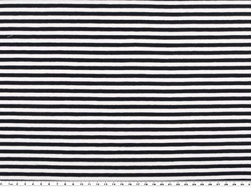 ab 1m: Baumwoll-Ringeljersey, marine-weiß, 150cm breit