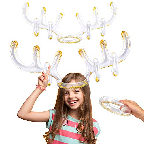 HIGBRE Christmas Games Inflatable Reindeer Antlers,Ring Toss Game for Christmas Party.2 Set Inflatable Transparent Reindeer Antlers with Gold Sequins(2 Antlers 8 Rings).