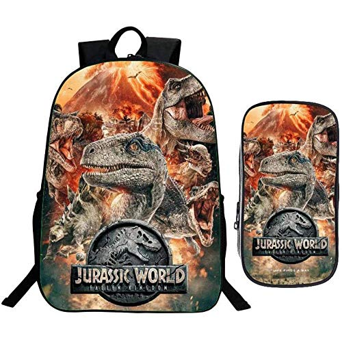 Mochila escolar infantil de dos piezas – 3D Jurassic World Dinosaurio impreso Kids School Bag Estuche para lápices – para niños y niñas – 40 x 30 x 12 cm, 4 (Negro) - DUKBP-0725-1