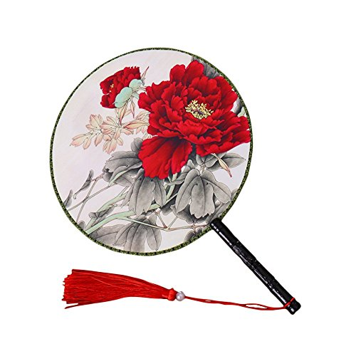 Potelin Premium Quality Chinese Ancient Classical Court Dance Fan Red Peony Pattern Double Dough Fan Round Round Hand Fans for Women