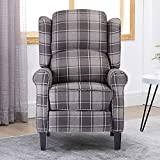 <span class='highlight'><span class='highlight'>4HOMART</span></span> Tartan Check Fabric Recliner Armchair Lounge Reclining Sofa Adjustable Armchair with Wood Legs Home Theater Seating Home Theater Individual Seating