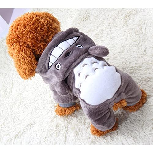 Xiaoyu cucciolo di cane cucciolo di cane da compagnia vestiti con cappuccio caldo maglietta felpa calda camicia cucciolo autunno inverno cappotto autunno cane moda tuta abbigliamento, grigio, S