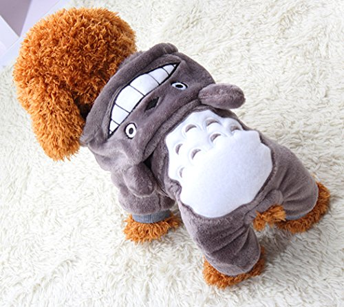 Xiaoyu Puppy Dog Pet Clothes Hoodie Warm Sweater Shirt Puppy Autumn Winter Coat Doggy Fashion Jumpsuit Apparel, Grey, M