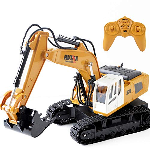 Hging Fernbedienungsbagger Spielzeug 1/18 Skalenbagger, 9-Kanal-Upgrade volle funktionale Baufahrzeuge...