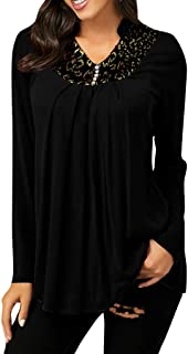 Women V-neck Plus Size Tops, Ladies Solid Button Long Sleeve T-shirt Blouse Party Tops