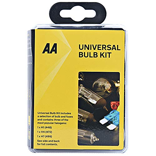 AA Compact Universal Car Bulb/Fuse Kit AA0552 - Includes Popular Halogen Bulbs H1 (448) H4 (472) H7 (499) - Fits Most Vehicles