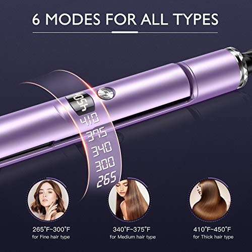 BESTOPE 1 Inch Hair Straightener, Professional Ceramic Flat Iron With Detachable Power Cord, LCD 265°F-450°F,3D Floating Plates,Dual Voltage,2-in-1 Curling Iron for All Hair Type Purple