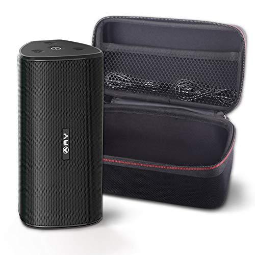 Altavoces portátiles AY 30W Bluetooth 5.0 con Estuche rígido, Altavoces inalámbricos IPX7 a Prueba de Agua, Sonido súper bajo 360 ° con TWS, 24H-Playbtime Fiestas, Aire Libre y Viajes.