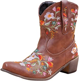 Women Classic Cowgirl Boots Ladies Retro Ankle Boots...