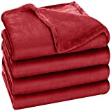 Utopia Bedding Fleece Blanket Queen Size Burgundy 300GSM Luxury Bed Blanket Anti-Static Fuzzy Soft Blanket Microfiber