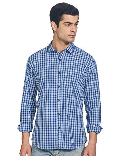 Amazon Brand – Symbol Men's Checkered Regular Casual Shirt (AZ-SY-RR-01_DTX-SK003A_Blue L)
