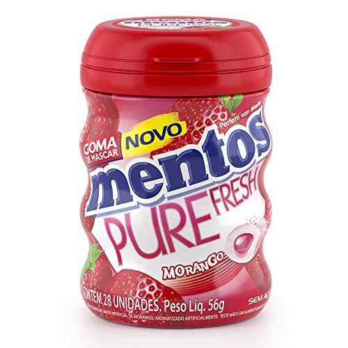 Garrafa Goma de Mascar Sem Açúcar Mentos Pure Fresh Morango | 56g - 28 unidades