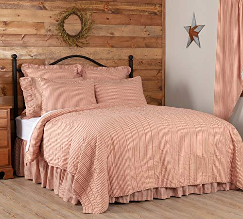 VHC Brands Sawyer Mill Red Tan Quilt Coverlet Cotton Farmhouse Ticking Stripe King Bedspread 105×95 Bedding Accessory