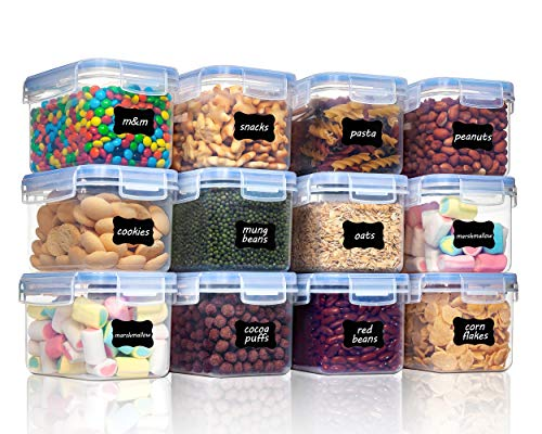 Vtopmart Airtight Food Storage Containers 12 Pieces 0.7qt / 0.8L- Plastic PBA Free Kitchen Pantry Storage Containers for Sugar, Flour and Baking Supplies - Dishwasher Safe - Include 24 Labels, Black