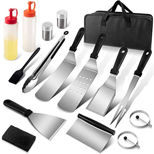 AJKPL Outdoor Griddle Accessories Kit for Blackstone, 16 Pieces Flat Top Grill Accessories with Metal Griddle Spatulas and Scraper, Griddle Tools in Carry Bag for Hibachi, Teppanyaki and Camping