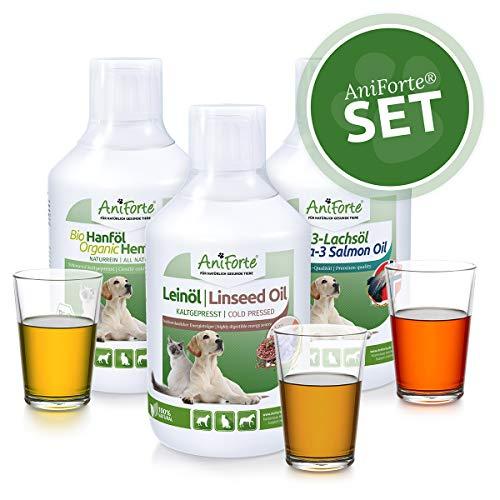 AniForte Barf-Öl Set 3 mit je 500ml Lachsöl, Leinöl und Hanföl – Naturprodukt für Hunde und Katzen, Kaltgepresst, Ohne Zusätze, Barfen und Idealer Zusatz für Futter