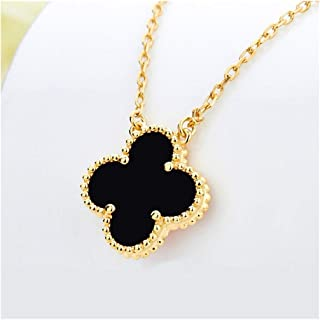 S925 Sterling Silver Women Fashion Black Onyx with Diamonds Four-leaf Clover Necklace/Classic Fashion 4 Leaf Clover Necklace Malachite Pendant Clavicle Chain