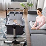 BABY JOY Baby Bedside Bassinet, Height Adjustable Portable Crib w/Music, Toy Rack, Mattress, Straps, Breathable Mesh & Carrying Bag, Easy Folding Kids Bed Side Sleeper for Newborn Infant (Dark Grey)