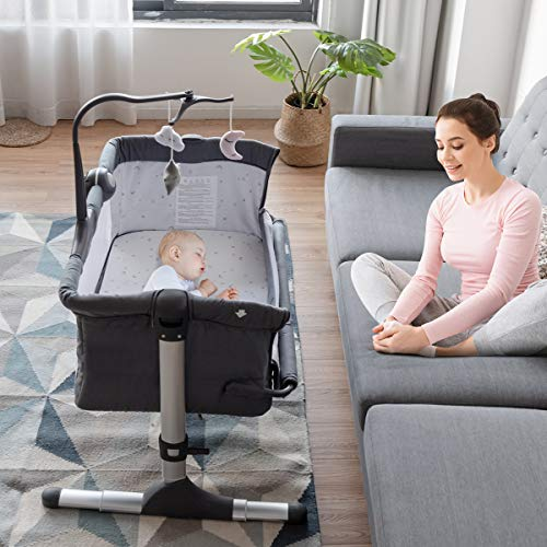 BABY JOY Baby Bedside Crib, Height Adjustable Portable Bassinet w/Music, Toy Rack, Mattress, Straps, Breathable Mesh & Carrying Bag, Easy Folding Kids Bed Side Sleeper for Newborn Infant (Dark Grey)