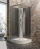 Cabine de douche complète Rhodos, cabine de douche intégrale arrondie avec portes coulissantes, noir, 85x85 cm, Schulte