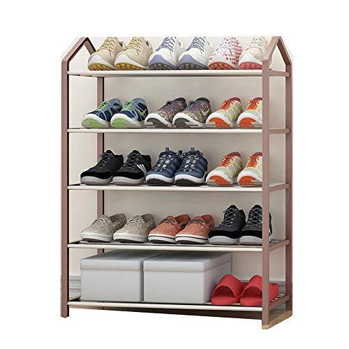 JCXOZ Multi-Nivel Zapatero, Zapatero de Acero con Marco de plástico, estantes de Almacenamiento de Calzado, Estilo clásico, Ligero, fácil de Montar (Color : Brown)