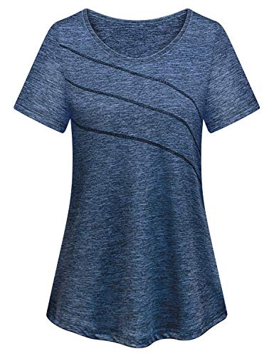 Plus Size Workout Clothes for Women,Cucuchy Moisture Wicking Shirts Loose Fit Yoga Fitness Exercise Tops Stretchy Soft Gym Athletic Shirt Cute Golf Camping Outdoors Sportwear Blue 2XL