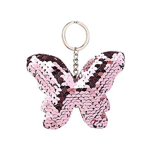 TIFIY Pailletten reflektierende Schmetterling glänzende Bogen Key Anhänger 1 stück Damen Tasche Schlüsselring (Rosa)