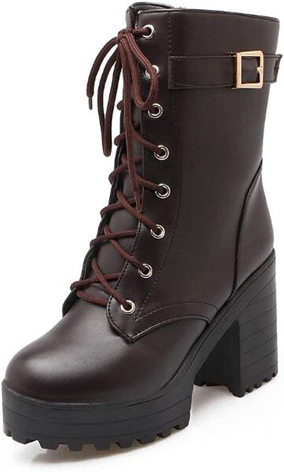Women's Lace-up Formal Wedge Combat Platform Mid-Calf High Martin Boots
