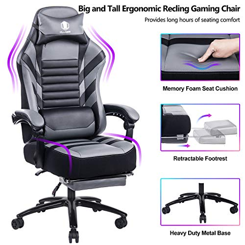 FANTASYLAB Big & Tall 400lb Massage Memory Foam Reclining Gaming Chair Metal Base - Adjustable Back Angle and Retractable Footrest Ergonomic High-Back Leather Racing Computer Desk Office Chair, Gray chair gaming gray