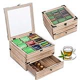 QILICZ Caja de té de madera con 9 compartimentos separados y cajón – Caja para bolsas de té para bolsas de té, azúcar, cápsula de café, lata vintage con gran red y tapa de ventana