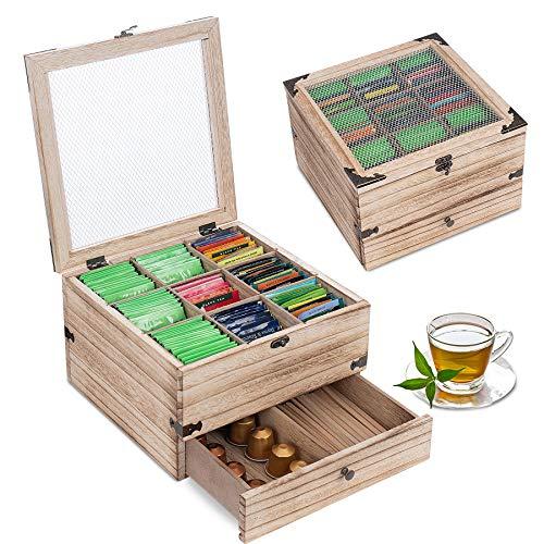 QILICZ Tea Box Wooden Tea Caddy 2 Tier Tea Bag Holder Rustic Tea Bag Organizer Antique Tea Chest Tea Storage Box with 11 Compartments for Home Use, Gifts, Tea Parties(Brown)