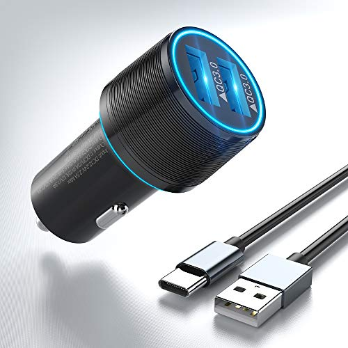Cargador Móvil Coche Quick Charge Dual QC3.0 Cargador de coche USB Con 1M Cable USB Tipo C para Samsung A41 A31 A30S A40 A50 A70 M51 M11,Xiaomi Redmi 8A Note 9 Pro 8T,MI 10T Lite,Poco F2 Pro/X3,LG