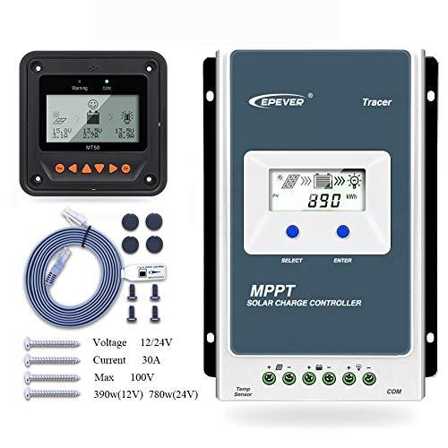 Contrôleur de charge solaire Qaurora MPPT Tracer A Series 10A / 20A / 30A / 40A avec 12V / 24V DC Identification automatique de la tension du système(30A+MT50)