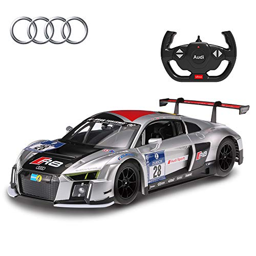 RASTAR Audi RC Car, 1/14 Audi R8 LMS Performance Sports Racing Remote Control Vehicle, Silver New Version