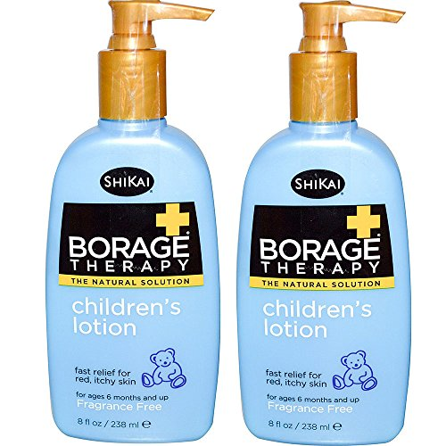 ShiKai All Natural Borage Dry Skin Therapy Pediatric Lotion For Baby, Kids and Children For Eczema, Dry Skin & Skin Problems With Organic Aloe Vera, Jojoba, Vitamin E & Shea Butter, 8 oz. (Pack of 2)