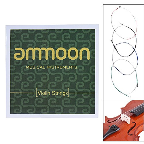 ammoon Vollständiger Saiten-Satz für Violine, Größe 1/2 und 1/4 Stahlsaiten, G-, D-, A- und E-Saiten, qualitativ hochwertig 4/4 & 3/4 4/4 und 3/4