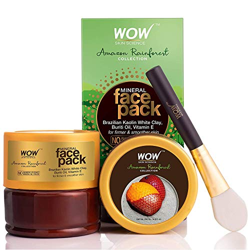 WOW Amazon Skin Science Rainforest Collection - Mineral Face Pack with Brazilian Kaolin White Clay, Buriti Oil - No Parabens, Sulphate, Silicones and Color, 200 ml