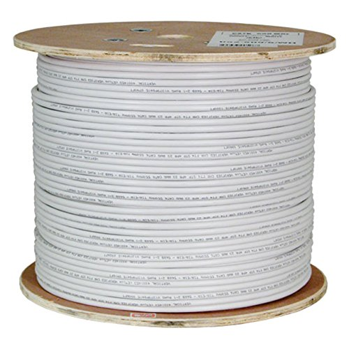 Vertical Cable Cat6A 10G, Shielded, 23AWG, Solid Bare Copper, PVC, 1000ft, Bulk Ethernet Cable, White