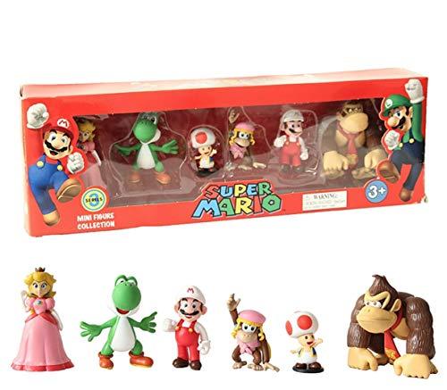 EASTVAPS 6 Pcs / Set Super Mario Bros PVC Action Figurine Jouets Mario Luigi Yoshi Champignon Donkey Kong dans