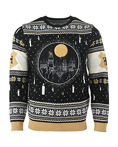 Harry Potter Christmas Jumper Ugly Sweater Hogwarts Castle Candles LED Light Up for Men Women Boys and Girls, Mehrfarbig, Gr. L