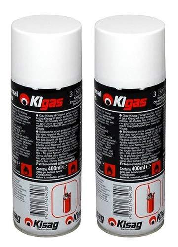 Kigas Kisag 2 x Ersatzgas Nachfüllflasche Feuerzeuggas Creme Brulee Ersatzgas (400 ml)
