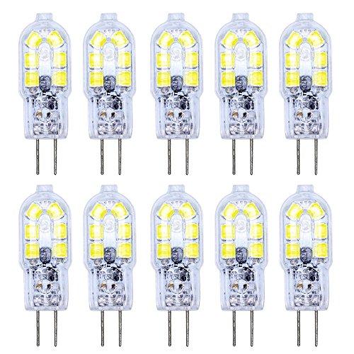 10er-Pack G4 LED Lampe 12V AC/DC 2W mit 12 x 2835 SMD Leds, Ersatz 15W Kaltweiß SMD LED Leuchtmittel 360° Abstrahlwinkel