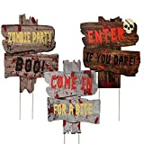 Joyjoz Halloween Outdoor Decorations Yard Signs with Stakes, Warning Yard Sign Stakes for Halloween Decorations Outdoor Lawn Decorations, Yard Decorations for Haunted House, Scary Theme Party