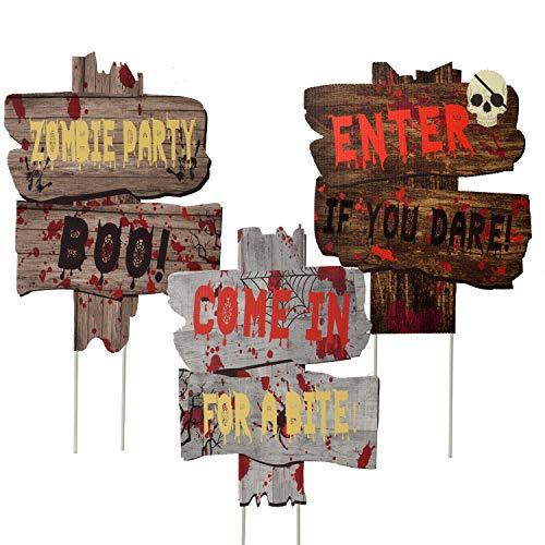 Joyjoz Halloween Decorazioni Esterno Cartelli da Giardino con Bastoni, Segnale Stradale di Avvertimento per Halloween Oggetti di Scena per Giardino Prato Casa Stregata