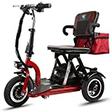 XCBY Mobility Scooter, 3 Wheeled Folding Electric Scooter, 300w Motor, Foldable, Reversible, 20km/H, 3 Speed Adjustment,Suitable For The Elderly, The Disabled, Adults 30KM