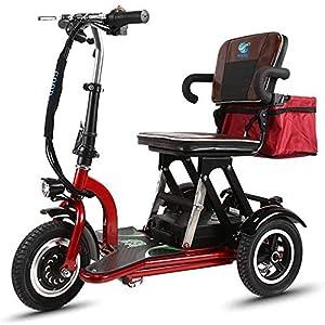 XCBY Scooter Eléctrico de 3 Ruedas Mayores Minusvalido, Motor De 300 W, Plegable, Reversible, 20 Km/H, Ajuste De 3 Velocidades, Adecuado para Personas Mayores, Discapacitados, Adultos 30KM