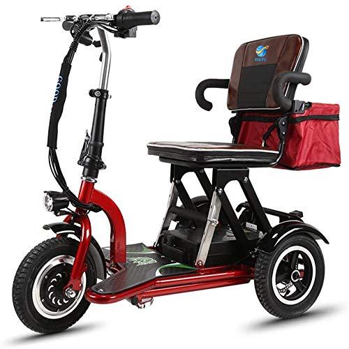 XCBY 3 Räder Elektroscooter, Seniorenmobil Dreirad, 300w Motor, Faltbar, Reversibel, 20 Km/H, 3-Gang-Einstellung, Geeignet FüR äLtere Menschen, Behinderte, Erwachsene 30KM